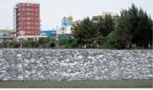 石灰石を使用した護岸